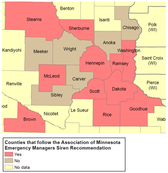 Map of counties in Minnesota with Siren Policies