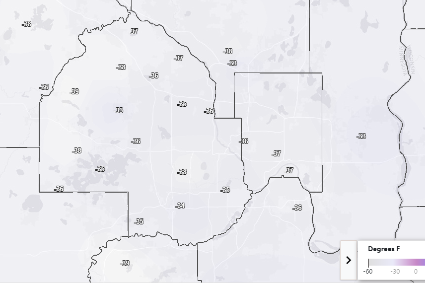 Coldest wind chill temperatures on February 13, 2020.