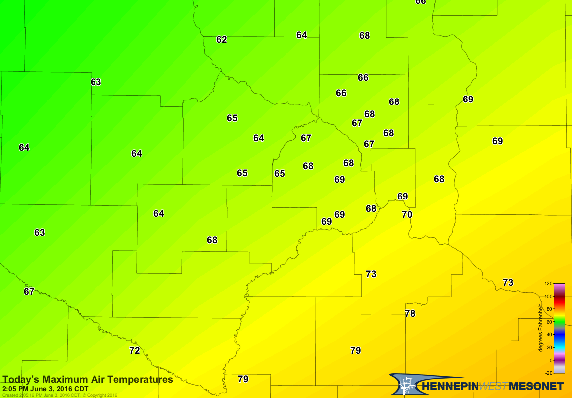june 5 maximum air temps