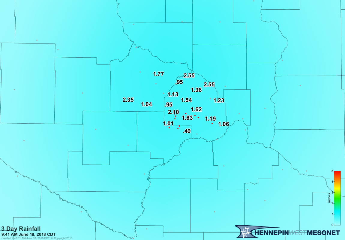 3-day Rainfall Accumulation ending June 18, 2018