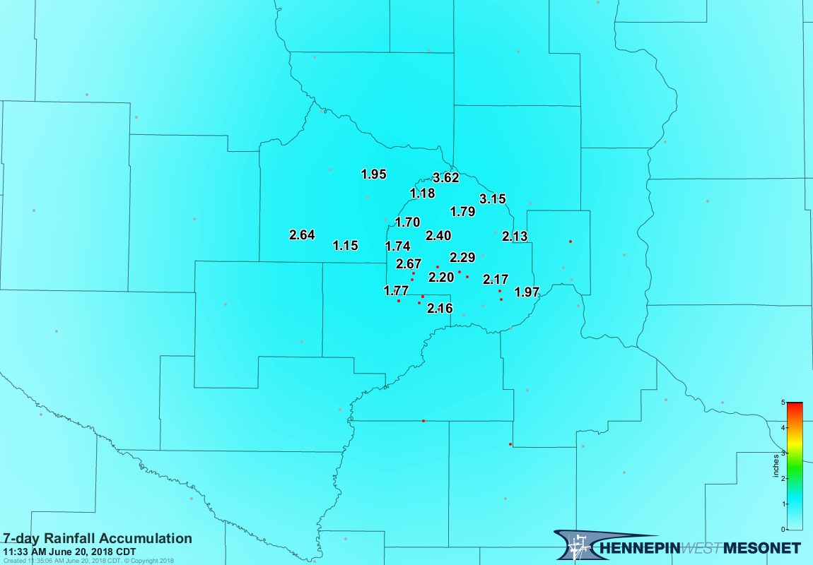 7-day Rainfall Accumulation ending June 20, 2018